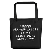Load image into Gallery viewer, Emotional Maturity | Black | Tote Bag-tote bags-Black-Eggenland