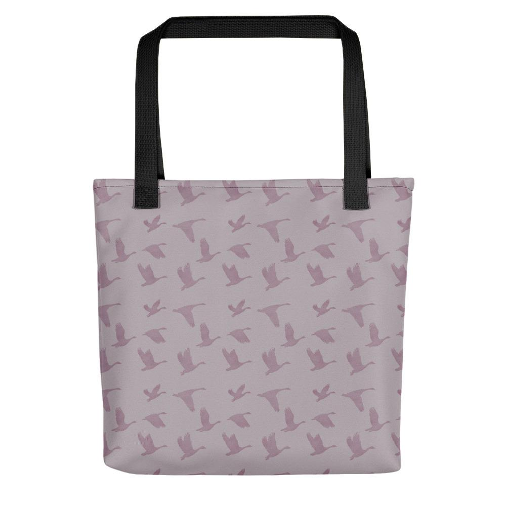 Flying Birds Pattern | Violet | Tote Bag-tote bags-Black-Eggenland