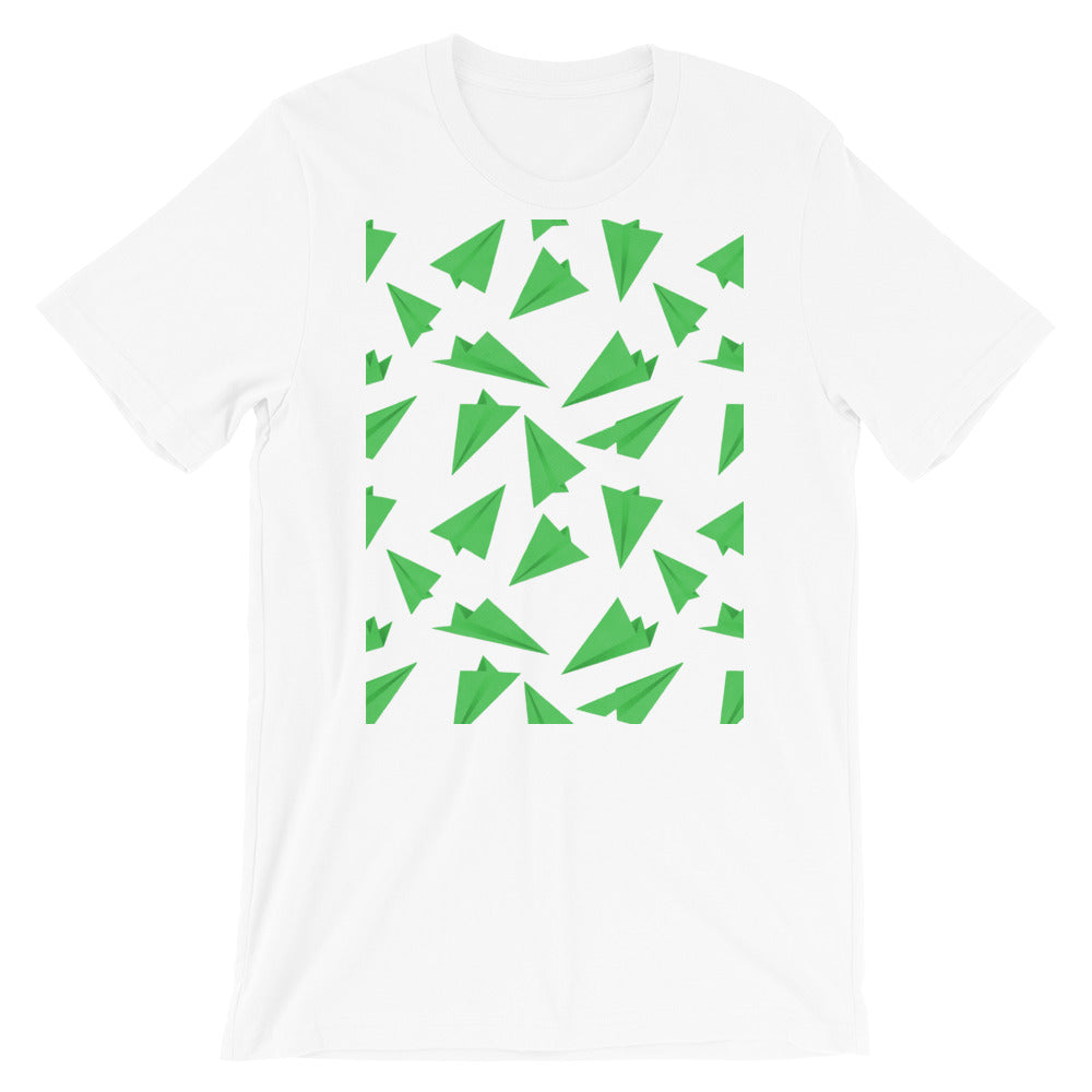 Paper Planes Pattern | Green | Short-Sleeve Unisex T-Shirt-t-shirts-White-S-Eggenland