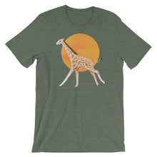 Load image into Gallery viewer, Giraffe and Sun | Short-Sleeve Unisex T-Shirt-t-shirts-Heather Forest-S-Eggenland