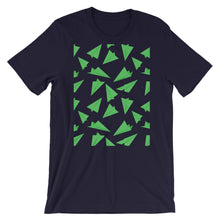 Load image into Gallery viewer, Paper Planes Pattern | Green | Short-Sleeve Unisex T-Shirt-t-shirts-Navy-S-Eggenland
