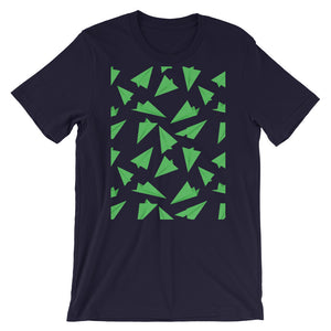 Paper Planes Pattern | Green | Short-Sleeve Unisex T-Shirt-t-shirts-Navy-S-Eggenland