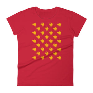 Cute Yellow Cat Pattern | Women's Short-Sleeve T-Shirt-t-shirts-Red-S-Eggenland