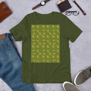 Flying Birds Pattern | Green | Short-Sleeve Unisex T-Shirt-t-shirts-Eggenland