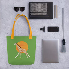 Load image into Gallery viewer, Giraffe and Sun | Green | Tote Bag-tote bags-Eggenland