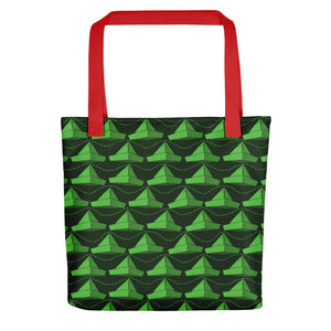 Newspaper Hats Pattern | Green | Tote Bag-tote bags-Red-Eggenland
