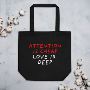 Attention Is Cheap | Eco Tote Bag-tote bags-Black-Eggenland