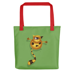Fat Cat | Green | Tote Bag-tote bags-Red-Eggenland