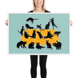 Black Cats Party | Blue | Illustration | Framed Poster-framed posters-White-24×36-Eggenland