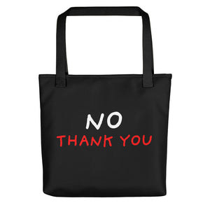 No Thank You | Black | Tote Bag-tote bags-Black-Eggenland
