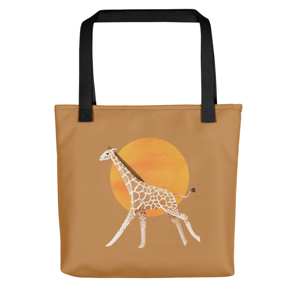 Giraffe and Sun | Light Brown | Tote Bag-tote bags-Black-Eggenland