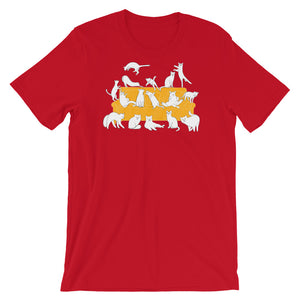 Cats Party | Short-Sleeve Unisex T-Shirt-t-shirts-Red-S-Eggenland
