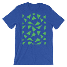 Load image into Gallery viewer, Paper Planes Pattern | Green | Short-Sleeve Unisex T-Shirt-t-shirts-Heather True Royal-M-Eggenland