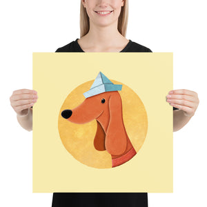 Dog with Newspaper Hat | Yellow | Poster-posters-18×18-Eggenland