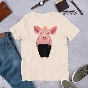 Cool Pig With Tattoos | Short-Sleeve Unisex T-Shirt-t-shirts-Eggenland