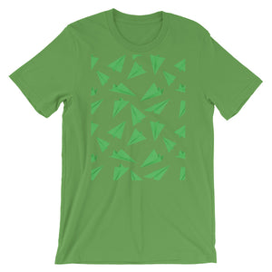 Paper Planes Pattern | Green | Short-Sleeve Unisex T-Shirt-t-shirts-Leaf-S-Eggenland
