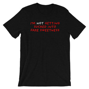 No Fake Sweetness | Short-Sleeve Unisex T-Shirt-t-shirts-Black Heather-S-Eggenland