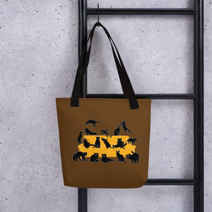 Black Cats Party | Brown | Tote Bag-tote bags-Eggenland