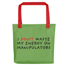 Load image into Gallery viewer, Don't Waste Energy | Green | Tote bag-tote bags-Red-Eggenland