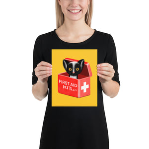 First Aid Kitten | Illustration | Yellow | Poster-posters-8×10-Eggenland