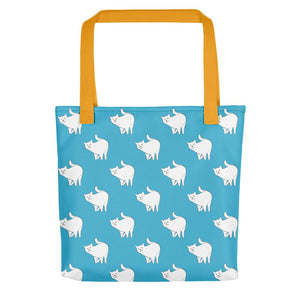 Cute Cat Pattern | Blue and White | Tote Bag-tote bags-Yellow-Eggenland