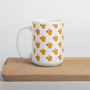 Yellow Cat Pattern | White | Mug-mugs-15oz-Eggenland