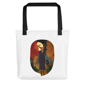 Deer Creature at Night | Tote Bag-tote bags-Black-Eggenland