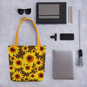 Blooming Flowers | Brown | Tote Bag-tote bags-Eggenland