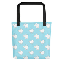 Load image into Gallery viewer, Cute Cat Pattern | Light Blue and White | Tote Bag-tote bags-Black-Eggenland