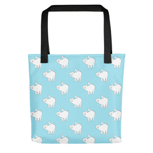 Cute Cat Pattern | Light Blue and White | Tote Bag-tote bags-Black-Eggenland