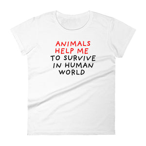 Animals Help Me | Women's Short-Sleeve T-Shirt-t-shirts-White-S-Eggenland