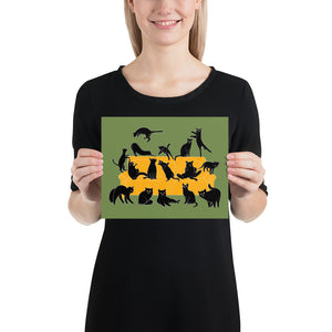 Black Cats Party | Green | Illustration | Poster-posters-8×10-Eggenland