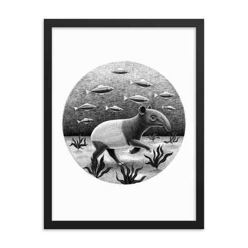 Tapirs Can Walk Underwater | Illustration | Framed Poster-framed posters-Eggenland