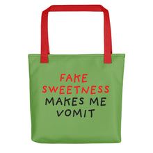 Load image into Gallery viewer, Fake Sweetness | Green | Tote Bag-tote bags-Red-Eggenland