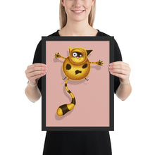 Load image into Gallery viewer, Fat Cat | Illustration | Pink | Framed Posters-framed posters-Black-12×16-Eggenland