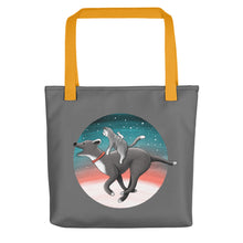 Load image into Gallery viewer, Together We Are Faster | Dog, Cat and Mouse | Dark Grey | Tote Bag-tote bags-Yellow-Eggenland