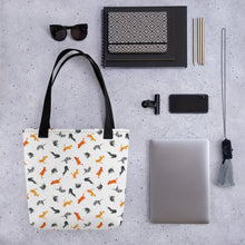 Load image into Gallery viewer, Funky Cats Pattern | White | Tote Bag-tote bags-Eggenland