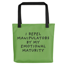 Load image into Gallery viewer, Emotional Maturity | Green | Tote Bag-tote bags-Black-Eggenland