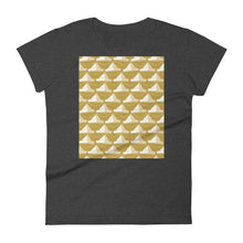 Load image into Gallery viewer, Paper Hats Pattern | Golden | Women's Short-Sleeve T-Shirt-t-shirts-Heather Dark Grey-S-Eggenland