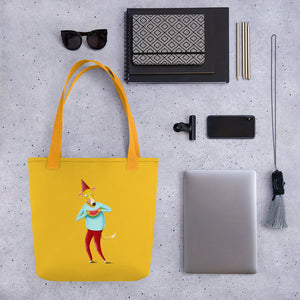 Dog with Watermelon | Yellow | Tote Bag-tote bags-Eggenland