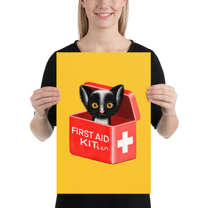 First Aid Kitten | Illustration | Yellow | Poster-posters-12×18-Eggenland
