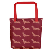 Load image into Gallery viewer, Dachshund Dog Pattern | Red | Tote Bag-tote bags-Red-Eggenland