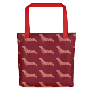 Dachshund Dog Pattern | Red | Tote Bag-tote bags-Red-Eggenland