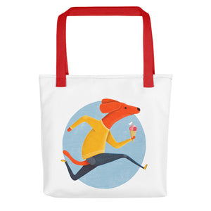 Dog with Ice Cream | White | Tote Bag-tote bags-Red-Eggenland