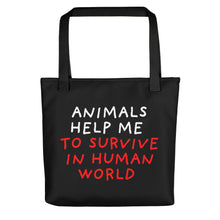 Load image into Gallery viewer, Animals Help Me | Black | Tote Bag-tote bags-Black-Eggenland