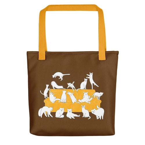 Cats Party | Brown | Tote Bag-tote bags-Yellow-Eggenland