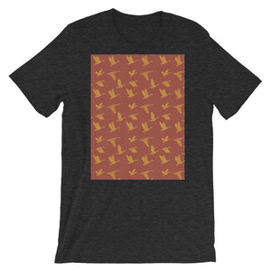 Flying Birds Pattern | Red | Short-Sleeve Unisex T-Shirt-t-shirts-Dark Grey Heather-S-Eggenland