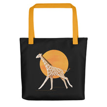 Load image into Gallery viewer, Giraffe and Sun | Black | Tote Bag-tote bags-Yellow-Eggenland