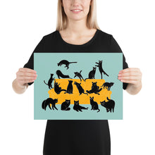 Load image into Gallery viewer, Black Cats Party | Blue | Illustration | Poster-posters-12×16-Eggenland