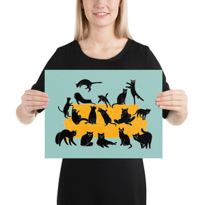 Black Cats Party | Blue | Illustration | Poster-posters-12×16-Eggenland